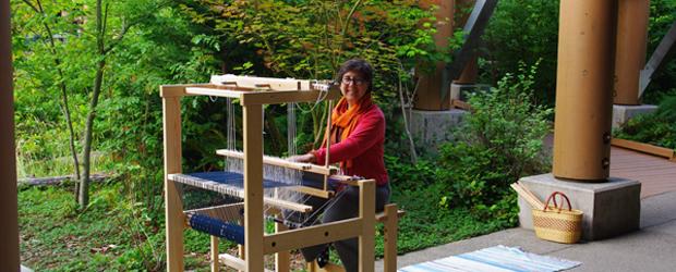 Carol weaving at Islandwood-july 2011 (pages)